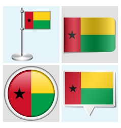 Guinea-Bissau flag - sticker button label vector image vector image