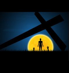 halloween zombie hand moon cross vector image