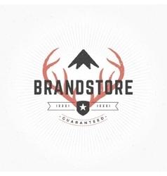 Hand drawn Deer horns Logo Vintage Style vector image vector image