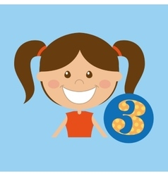 Happy girl student school number icon vector