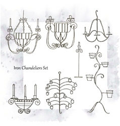 Iron chandeliers set vector image