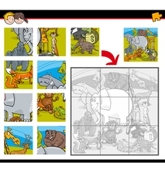 jigsaw puzzle game with animals vector image vector image