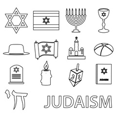 Judaism religion symbols set of outline icons vector