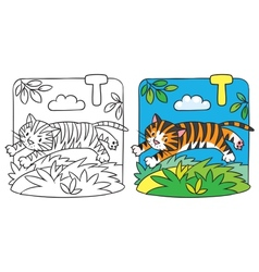 Little tiger coloring book Alphabet T vector image