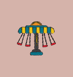 Merry-go-round icon in hatching style vector