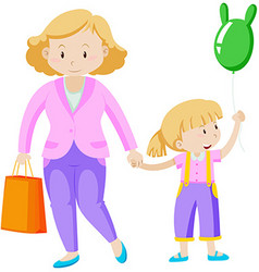 Mother and daughter holding hand vector image vector image