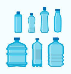 Plastic bottles shapes isolated flat icons vector