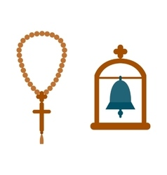 Religion bell hanging in the archway vector
