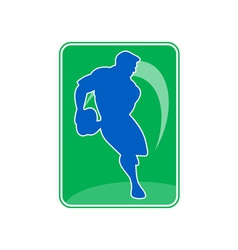 rugby player running passing ball vector image vector image
