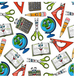 school supplies cartoon seamless pattern vector image vector image