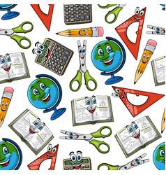 School supplies cartoon seamless pattern vector