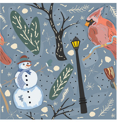 seamless winter pattern with cute snowman and vector image vector image