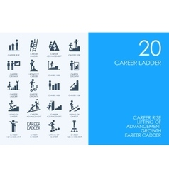 Set of blue hamster library career ladder icons vector