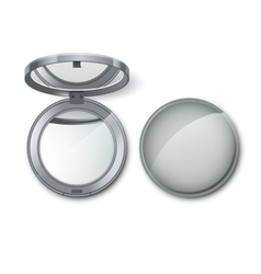 Silver round pocket cosmetic make up small mirror vector