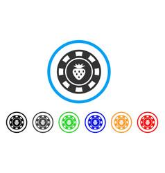 Strawberry casino chip icon vector