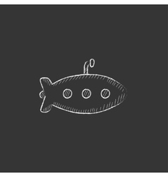 Submarine drawn in chalk icon vector