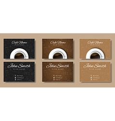 Template coffee cards with hand drawings and a cup vector image vector image