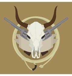Wild west cow skull pistols ribbon lasso logo vector