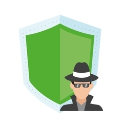 Shield and hacker icon vector