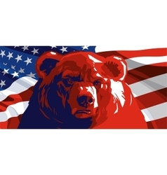 Angry Bear and American flag vector image