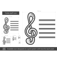Treble staff line icon vector