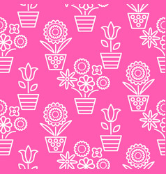Pink and white line flower pots seamless vector