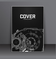 A4 cover design template flyer with technical vector