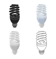 Fluorescent lightbulb icon in cartoon style vector