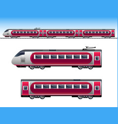 passenger red train vector image