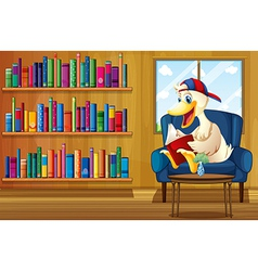 A duck reading a book at the sofa vector image