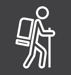 Hiking line icon travel and tourism tourist vector