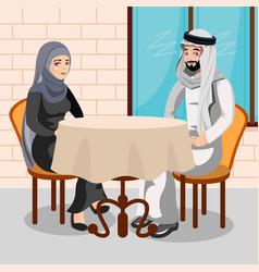 Eastern people having dinner in restaurant vector