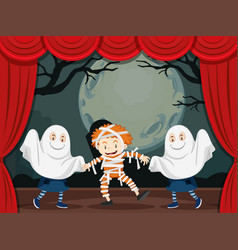 Ghosts and mummy on stage play vector