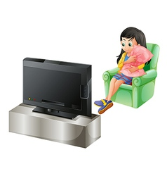 A young girl watching TV vector image