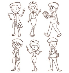 Simple sketches of doctors vector