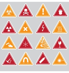 16 color danger signs types stickers eps10 vector