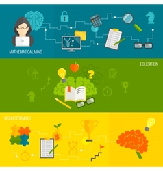 Brain banner set vector