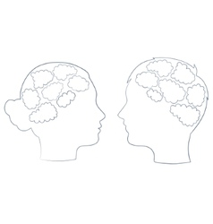 Boy and girl head with thought template vector