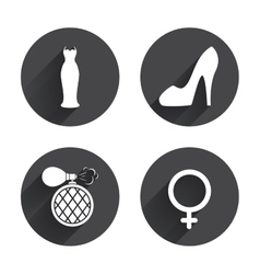 Wedding dress icon women shoe sign perfume vector