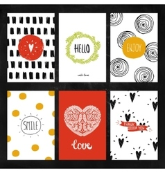 Hand drawn collection of greeting cards vector