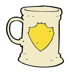 Comic cartoon old tankard vector