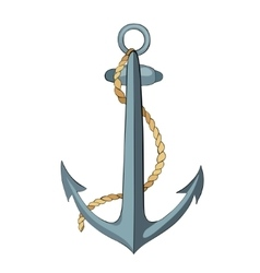 Anchor and rope with outline vector