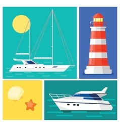 Sailing yacht lighthouse marintime vacation vector