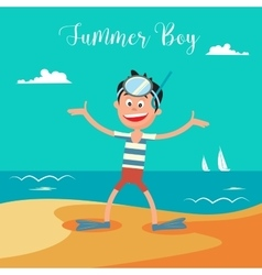 Happy boy on summer beach vacation vector