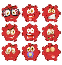 Red ball with facial expressions vector