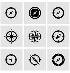 black compass icon set vector image vector image