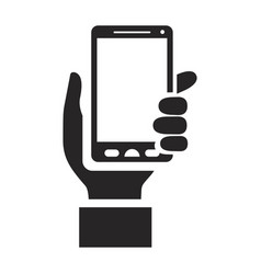 black silhouette of hand holding smartphone vector image vector image