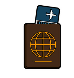 boarding pass and passport icon image vector image