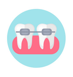 brackets on the teeth icon flat style dentistry vector image