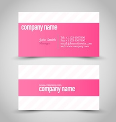 Business card set template pink and white color vector